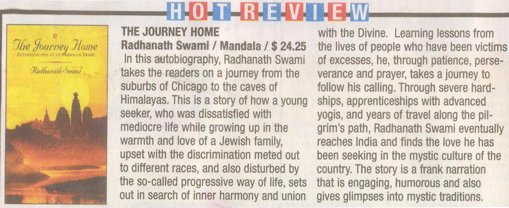 Radhanath Swami's Journey Home Review in Times Of India, Chennai