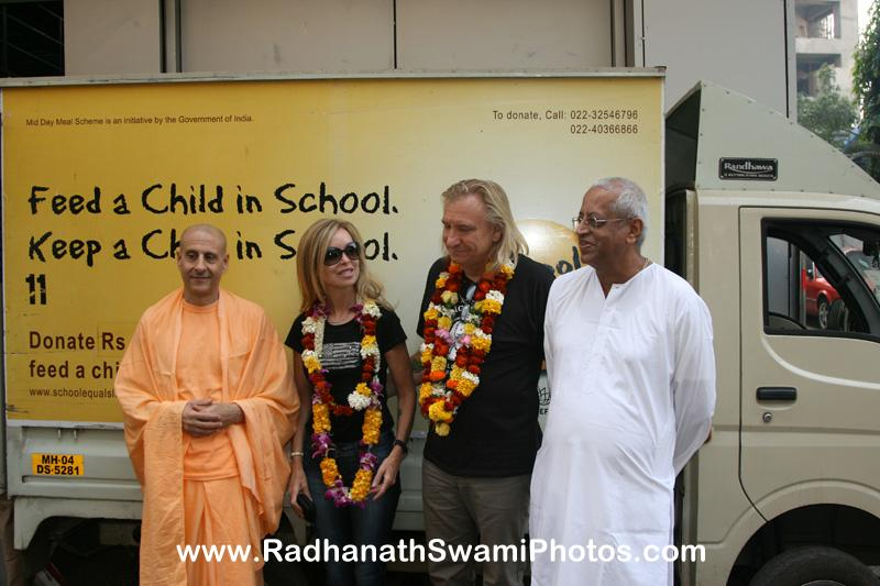Radhanath Swami visits Midday Meal with Joe Walsh