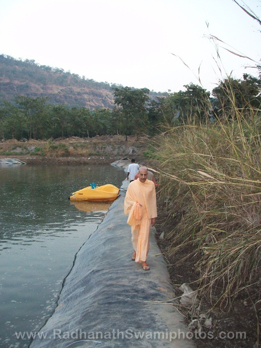 Radhanath Swami Near The Lake at Govardhan Ashram