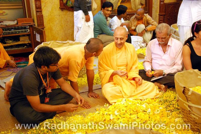 Radhanath Swami Plucking Petals