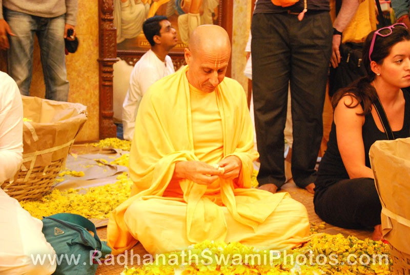 Radhanath Swami Plucking Petals for The Lord