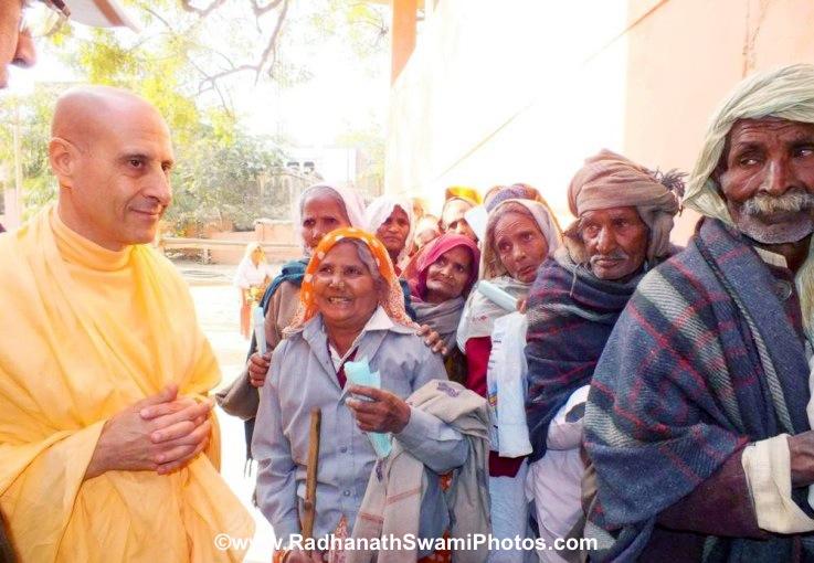 Radhanath Swami with Patients at Barsana Eye Camp