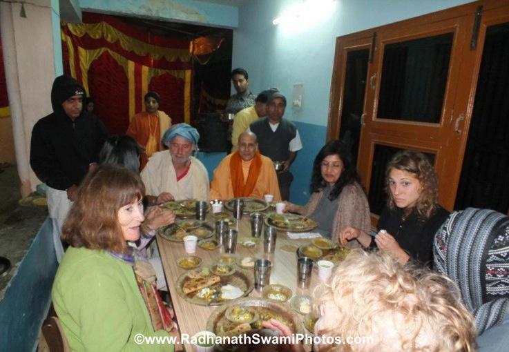 Accepting Meal at Barsana Eye Camp