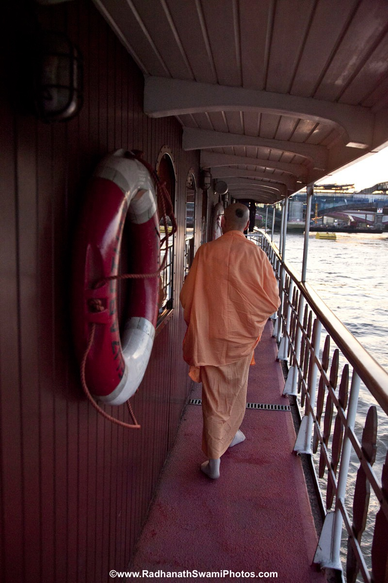 Radhanath Swami in Boat