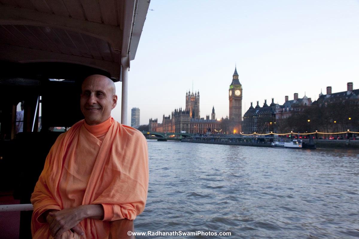 Radhanath Swami on a Boat Trip