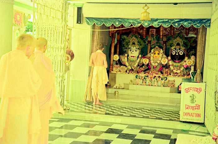 Radhanath Swami Praying to Jagannath, Baladev and Subhadra