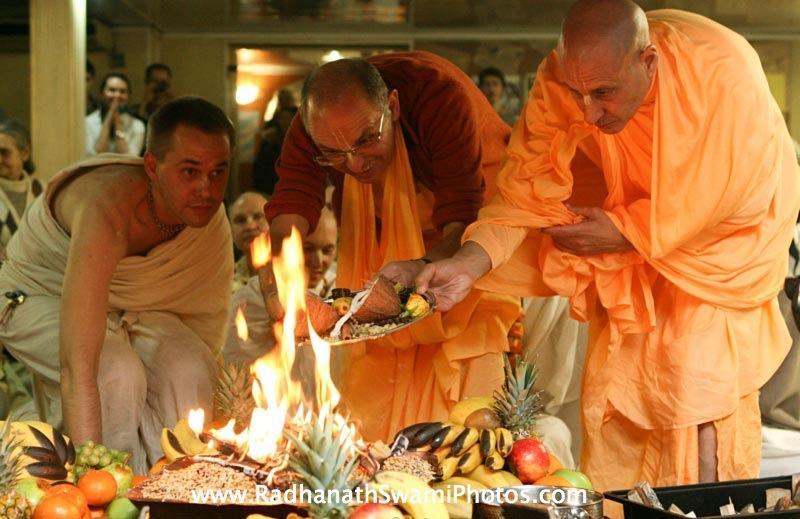 Radhanath Swami during Fire Sacrifice Ceremony