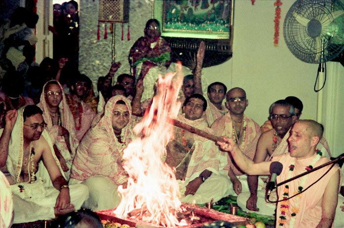 Radhanath Swami Performing Fire Sacrifice