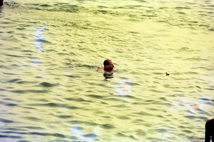 Radhanath Swami Swimming
