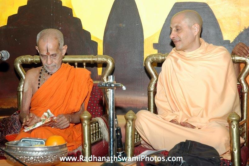 Pejavar Swami with Radhanath Swami