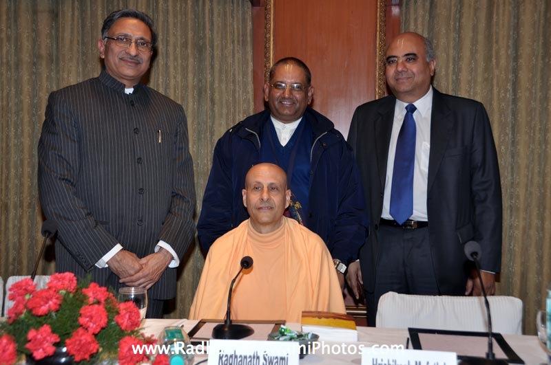 Radhanath Swami with Hrishikesh Mafatlal and others