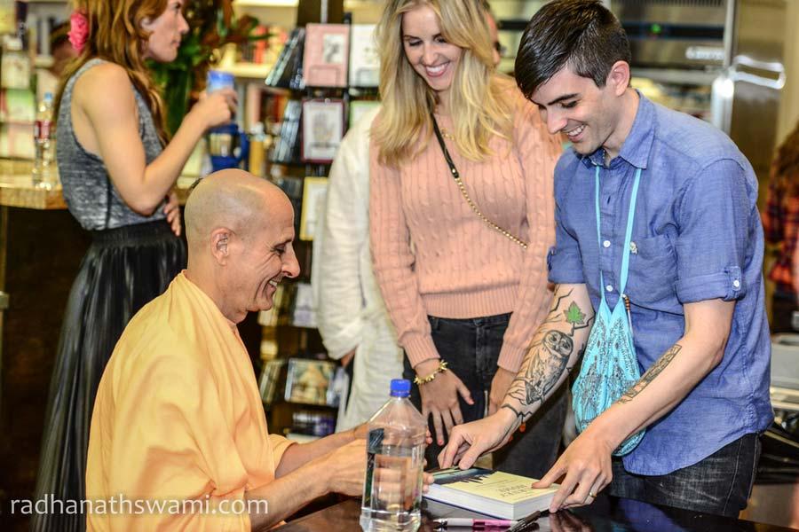 HH Radhanath Swami Book Signing at Golden Bridge Yoga