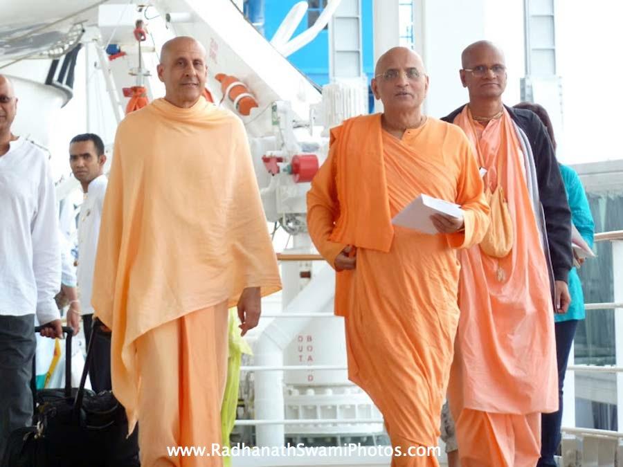 Radhanath Swami with Bhakti Purusottam Swami and Bhakti Charu Swami