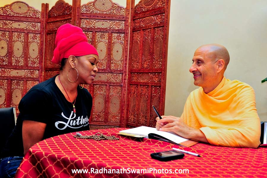 CC White with Radhanath Swami at Bodhi Tree Book Store