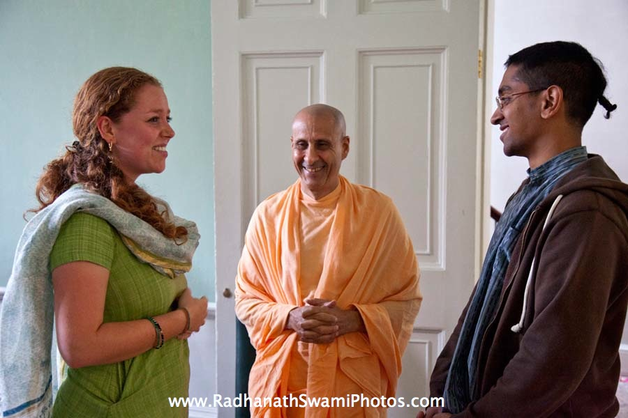 Radhanath Swami with Jahnavi Harrison