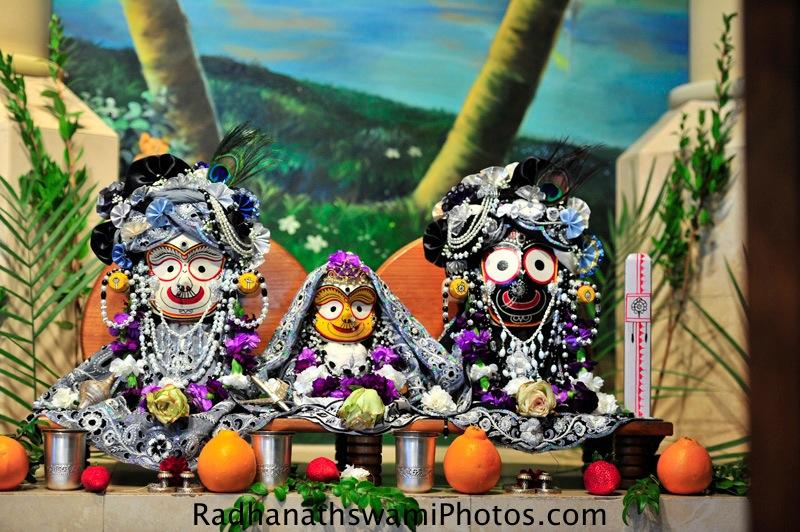Jagannath, Baladev, Subhadra deities at ISKCON Laguna Beach