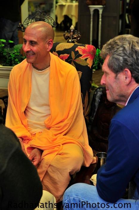 Radhanath Swami and shyam sundar prabhu at Akashic Book Store