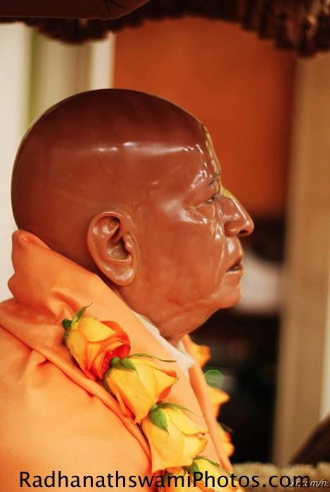 Deity of Srila Prabhupada at Los Angeles Temple
