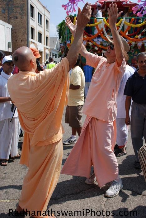 Radhanath Swami dancing for a Kirtan at Los Angeles Rath Yatra