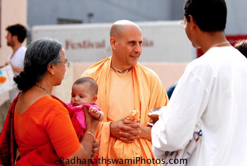 Radhanath Swami speaking to Devotees