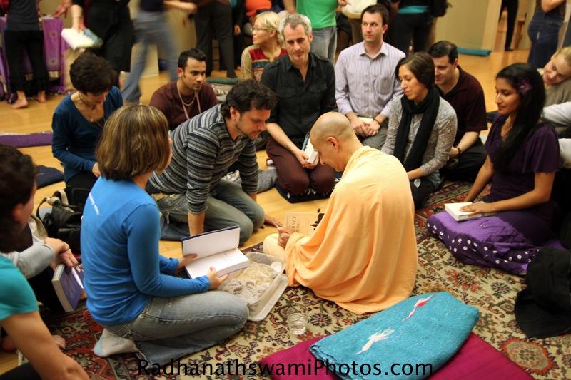Radhanatha Swamy signing his book at Jivamukti Yoga Center