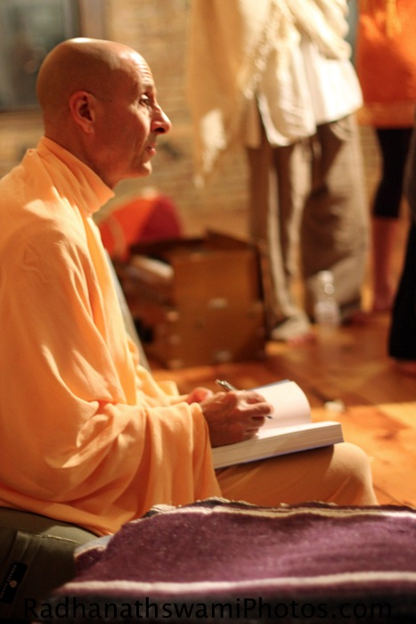 Radhanath Swami Signing his Book The Journey Home at Kula Yoga center