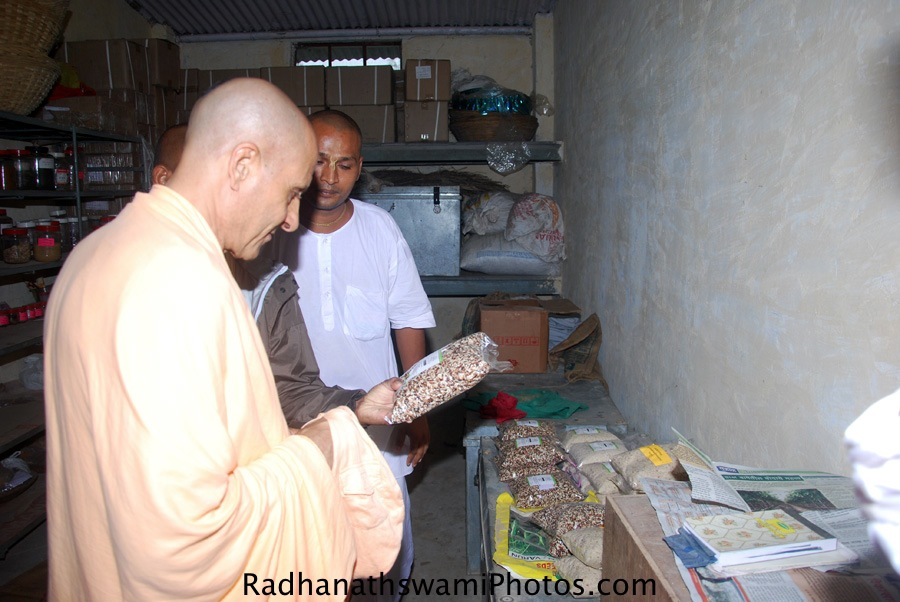 Radhanath Swami checking a products made in Wada