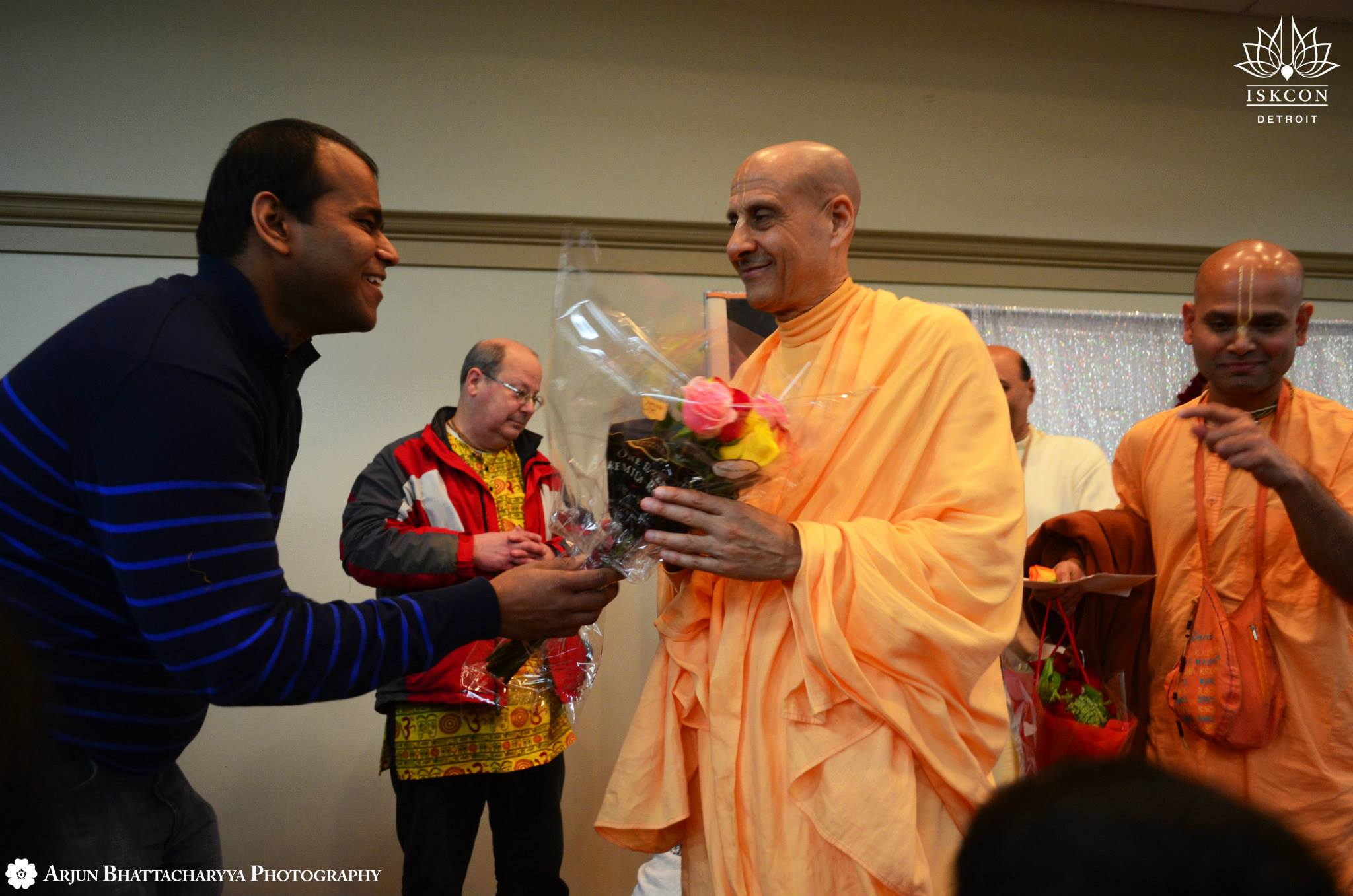 Radhnath Swami with devotee