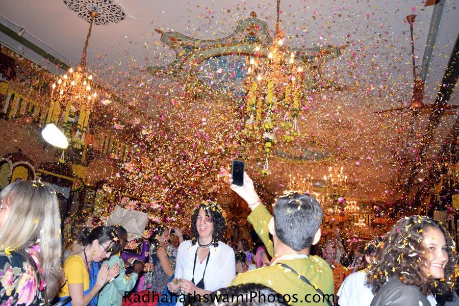 Devotees enjoying the flower festival