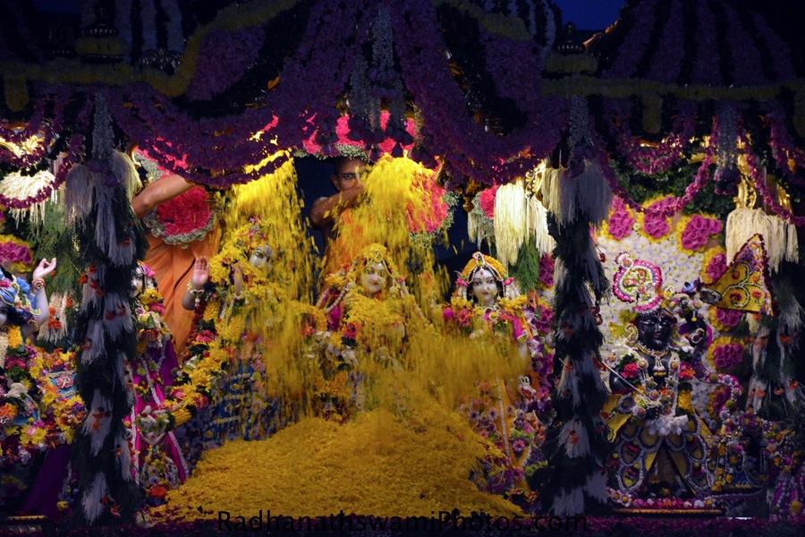 Flower abhishek of lord at ISKCON Chowpatty-
