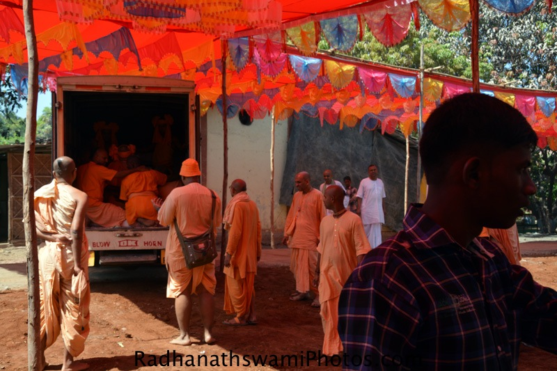 Devotees working hard for temple opening at GEV