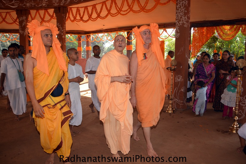 Radhanath Swami observing the preparation for Temple Opening