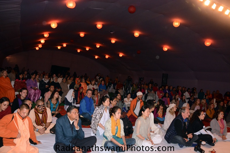 Yoga students at IYF listens the talk by HH Radhanath Swami