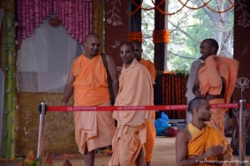Devotees at Temple at Govardhan ecovillage