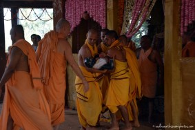 Devotees taking lord for abhishek