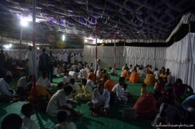 Devotees taking prasadam at GEV