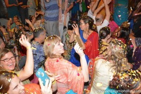 Flower petals being thrown among the people - Radhanath Swami