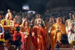 Radhanath Swami doing Ganga Arati 1