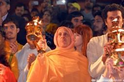 Radhanath Swami doing Ganga Arati