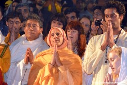 Radhanath Swami praying to Mother Ganges
